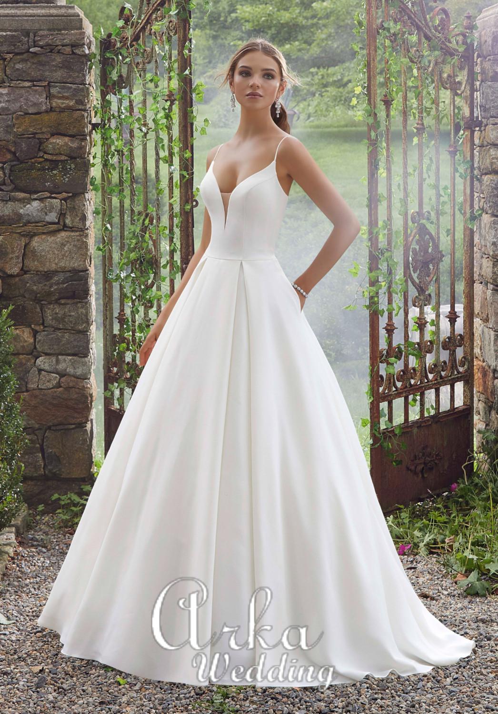 Νυφικό Φόρεμα, Peau de soie, Γραμμή Άλφα., Απλό και Elegant Κωδ. 5706