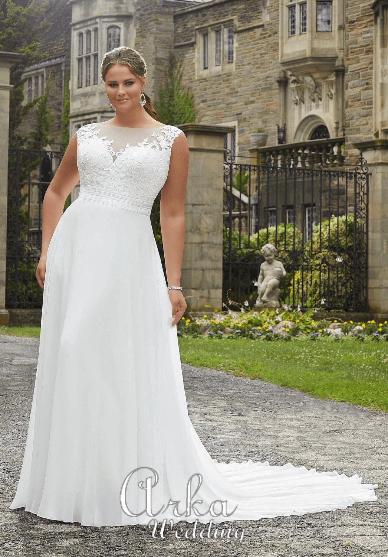 Νυφικό Φόρεμα, για Κομψή Παχουλή Νύφη. Κωδ. 5808