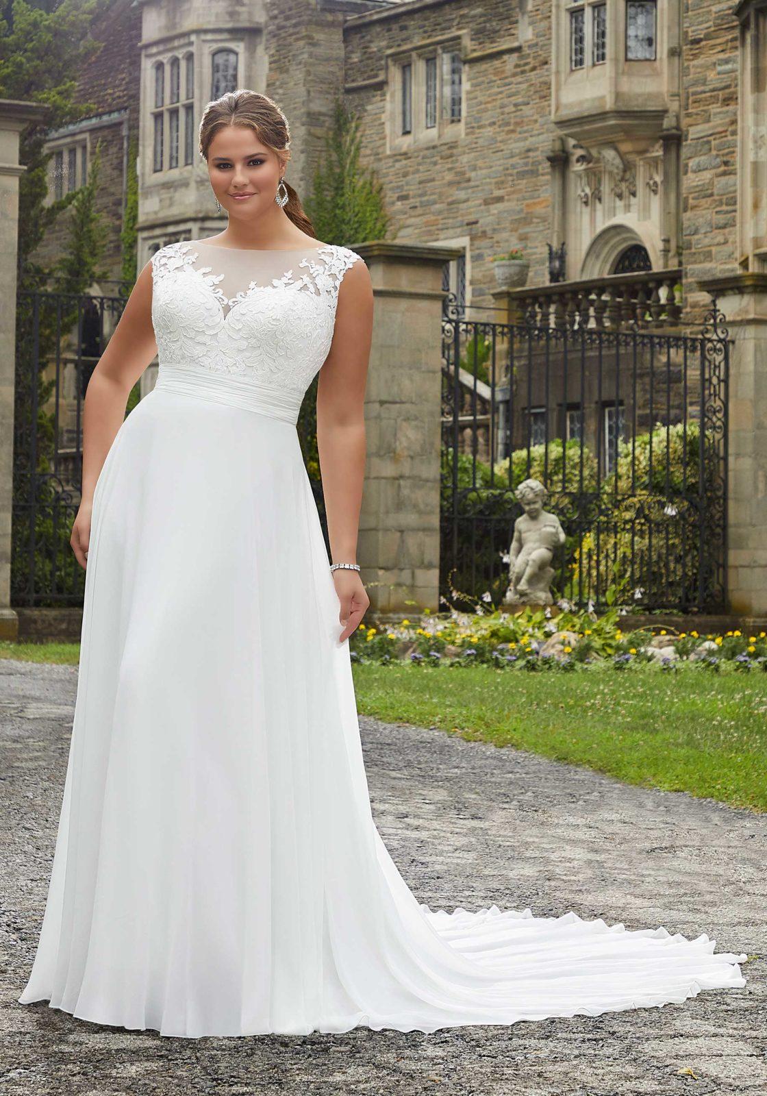 Νυφικό Φόρεμα, Chiffon και Δαντέλα, , Plus Size, Morilee by Madeline Gardner, Style. 5808