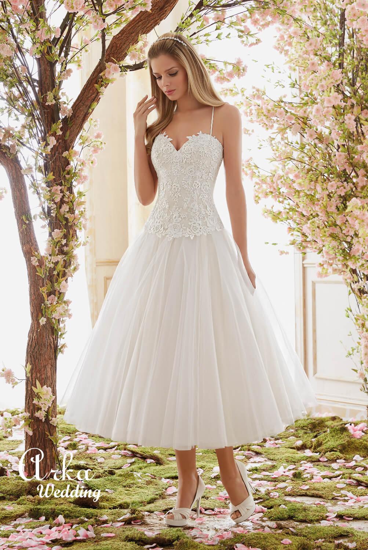 Νυφικό Φόρεμα, Κοντό, Ρομαντική Venice Δαντέλα. Κωδ. 6840