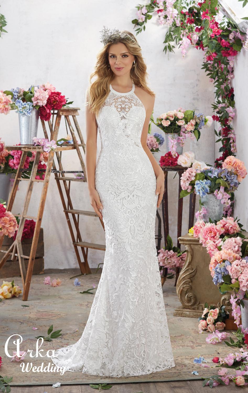 Νυφικό Φόρεμα,  Δαντέλα Κεντημένη. Κωδ. 6851