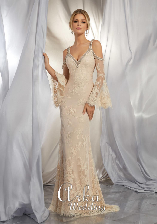 Νυφικό Φόρεμα, από Δαντέλα Ολόσωμη, Γοργονέ, Τύπου boho. Κωδ. 6865