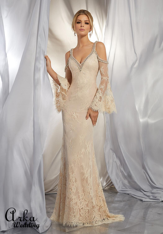 Νυφικό Φόρεμα Τύπου boho με Μανίκι Καμπάνα. Κωδ. 6865