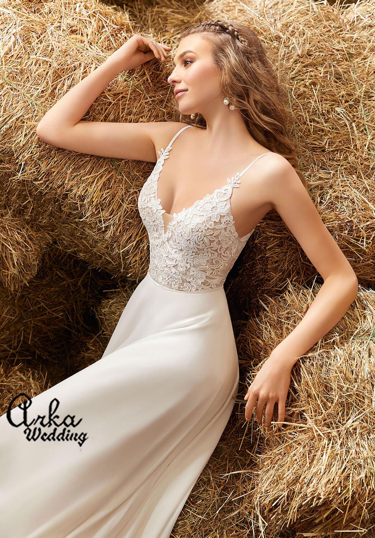 Νυφικό Φόρεμα, το Μπούστο Venice Δαντέλα . Κωδ. 6915