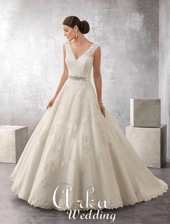 Νυφικό Φόρεμα, Δαντέλα, Κεντημένη σε Micado,. Κωδ. 69170