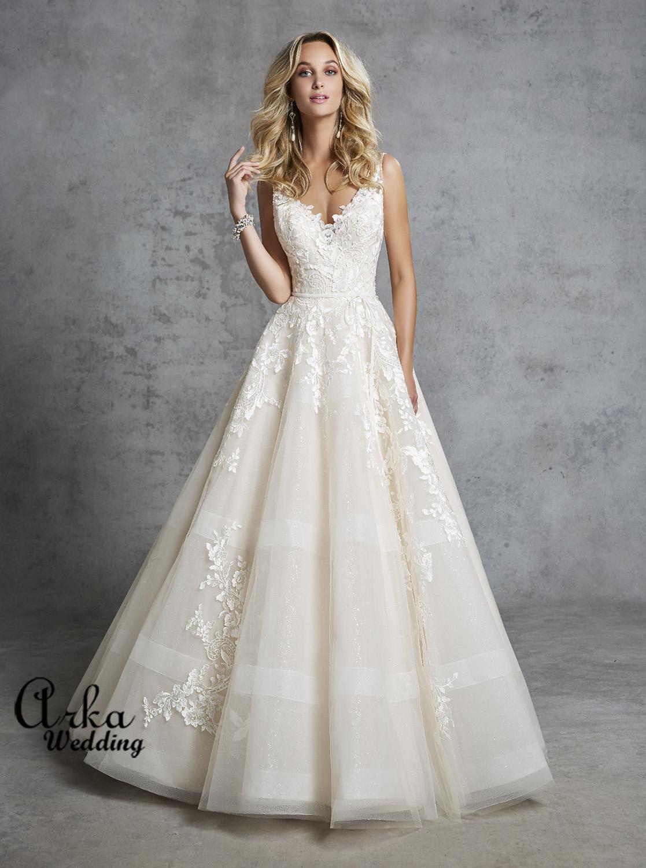 Νυφικό Φόρεμα με Δαντέλα, και Sparkle Τούλι. Κωδ. 69419