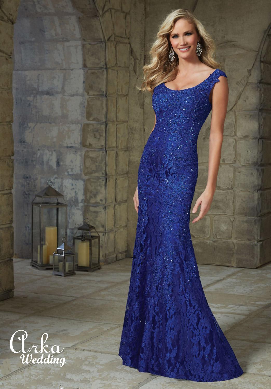 Μακρύ Βραδινό Φόρεμα, Δαντέλα Appliquees, Κεντημένη. Κωδ. 71215