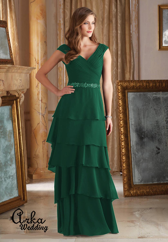 Βραδινό Φόρεμα, Μακρύ, από Chiffon με Ζώνη Κεντημένη με Κρύσταλλα. Κωδ. 71420