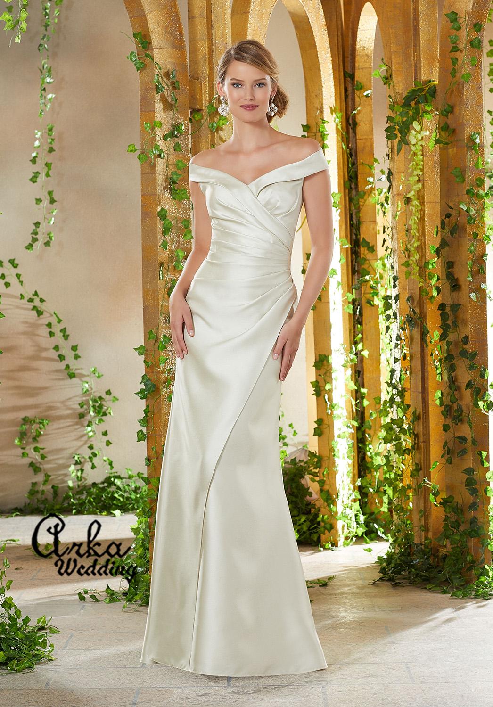 Νυφικό Φόρεμα, Απλό, Στενό, από Larissa Satin. Κωδ. 71909