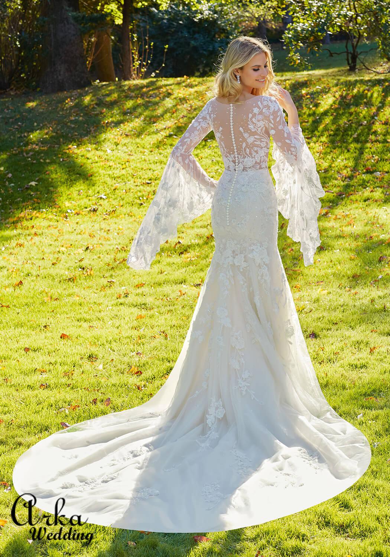 Νυφικό Φόρεμα, Δαντέλα, με Μανίκια, Καμπάνα. Κωδ. 8129