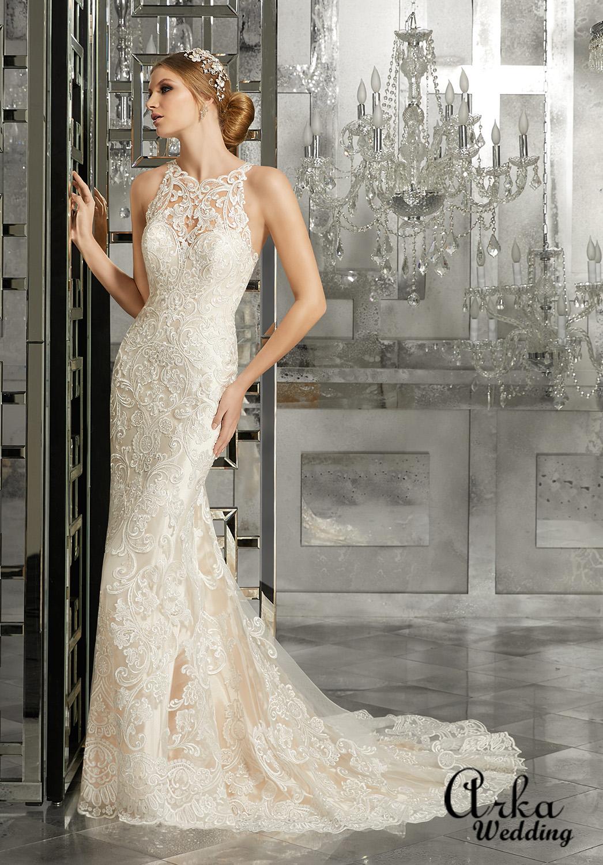 Νυφικό Φόρεμα, από Πολυτελή Δαντέλα Ολόσωμη. Κωδ. 8173