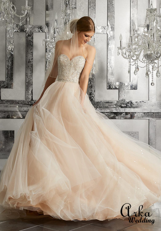 Νυφικό Φόρεμα, Αστραφτερό, Κεντημένο με Κρύσταλλα Κωδ. 8175