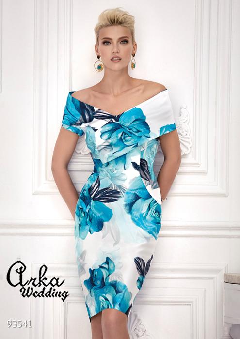 Κοντό Βραδινό Φόρεμα από Ταφτά Floral. Κωδ. 93541