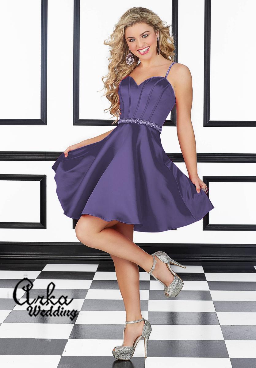 Νεανικό Βραδινό Φόρεμα με Κεντημένη Ζώνη και Ραντάκια. Κωδ. 9406