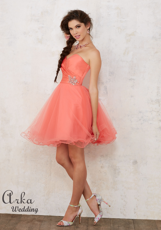 Φόρεμα Στράπλες, Σατέν και Τούλι, με Κέντημα. Κωδ. 9441
