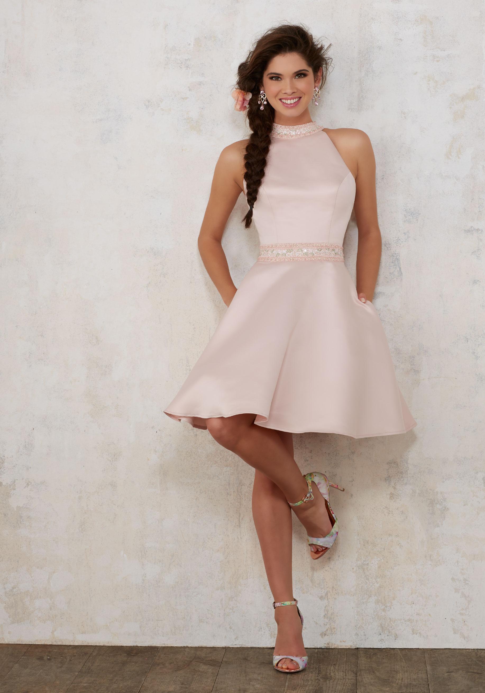Βραδινό φόρεμα, Satin Damas, κοντό Κωδ. 9445