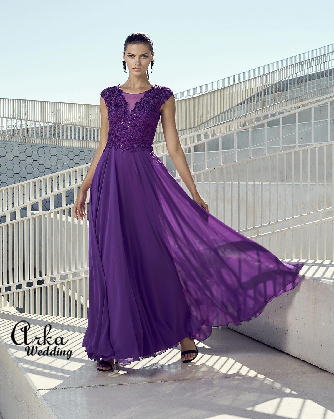Βραδινό Φόρεμα Chiffon και Δαντέλα Κεντημένη. Κωδ. 95469