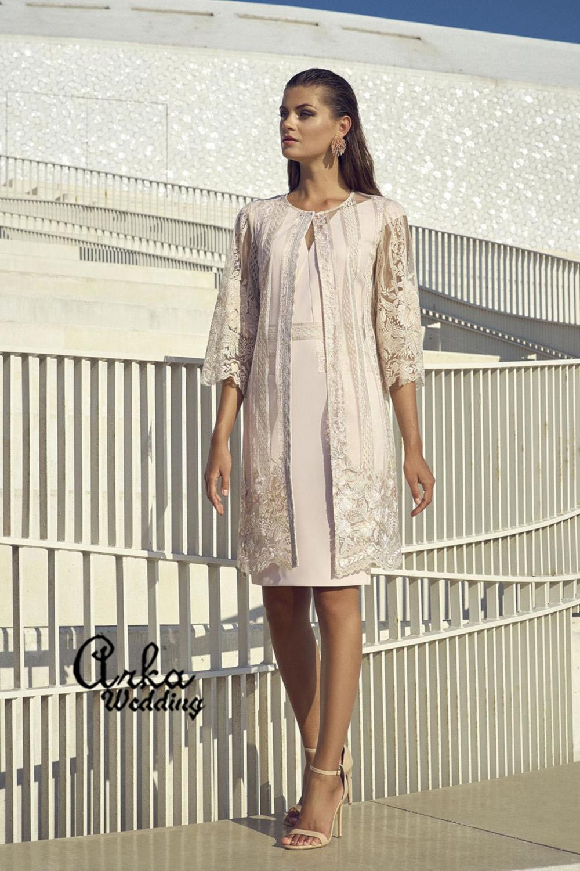 Βραδινό Φόρεμα από Crepe, με Μαντό από Δαντέλα. Κωδ. 95523