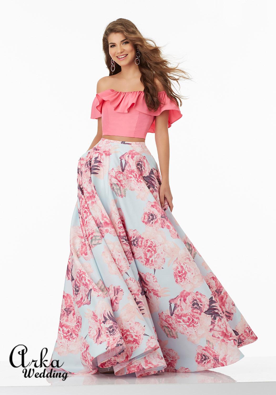 Φόρεμα Φλοράλ Taffeta Top Crop. Κωδ. 99045