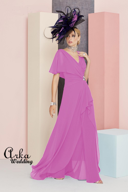 Βραδινό Φόρεμα, Τουαλέτα-Παντελόνα, Chiffon  Jersey. Κωδ. 991350