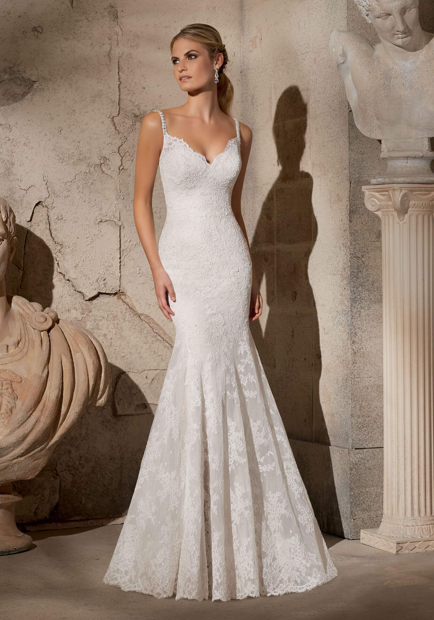 Elegant Alencon Lace with Crystal Beaded Straps Morilee Bridal Wedding Dress. - Style.  2704.