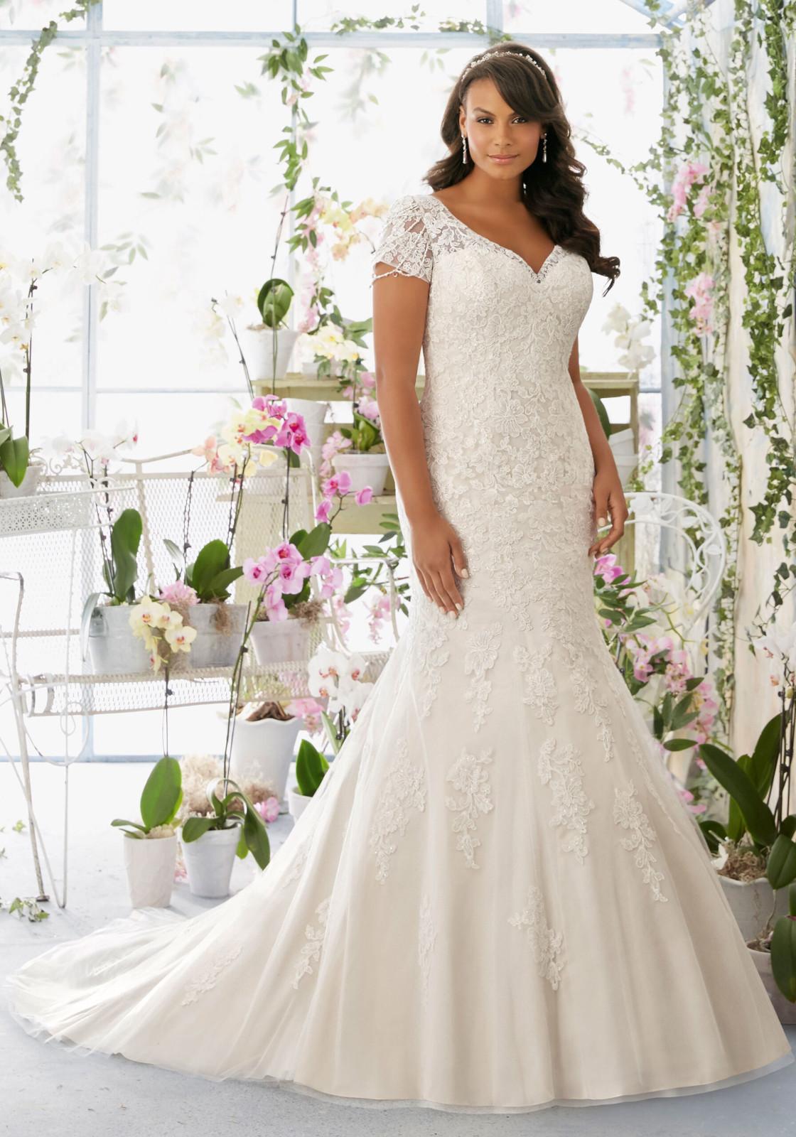 Νυφικό Φόρεμα, MORLEE Plus Size για Κομψή Παχουλή Νύφη, Style. 3197