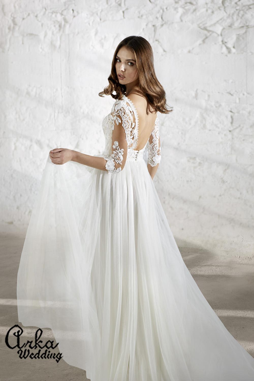 Αέρινο Νυφικό Φόρεμα, με Δαντέλα Μανίκι. και Πλάτη Ανοιχτή Κωδ. ENSLEY