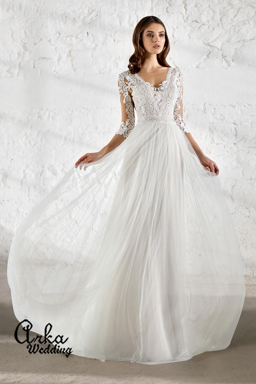 Αέρινο Νυφικό Φόρεμα, με Δαντέλα Μανίκι. Κωδ. ENSLEY