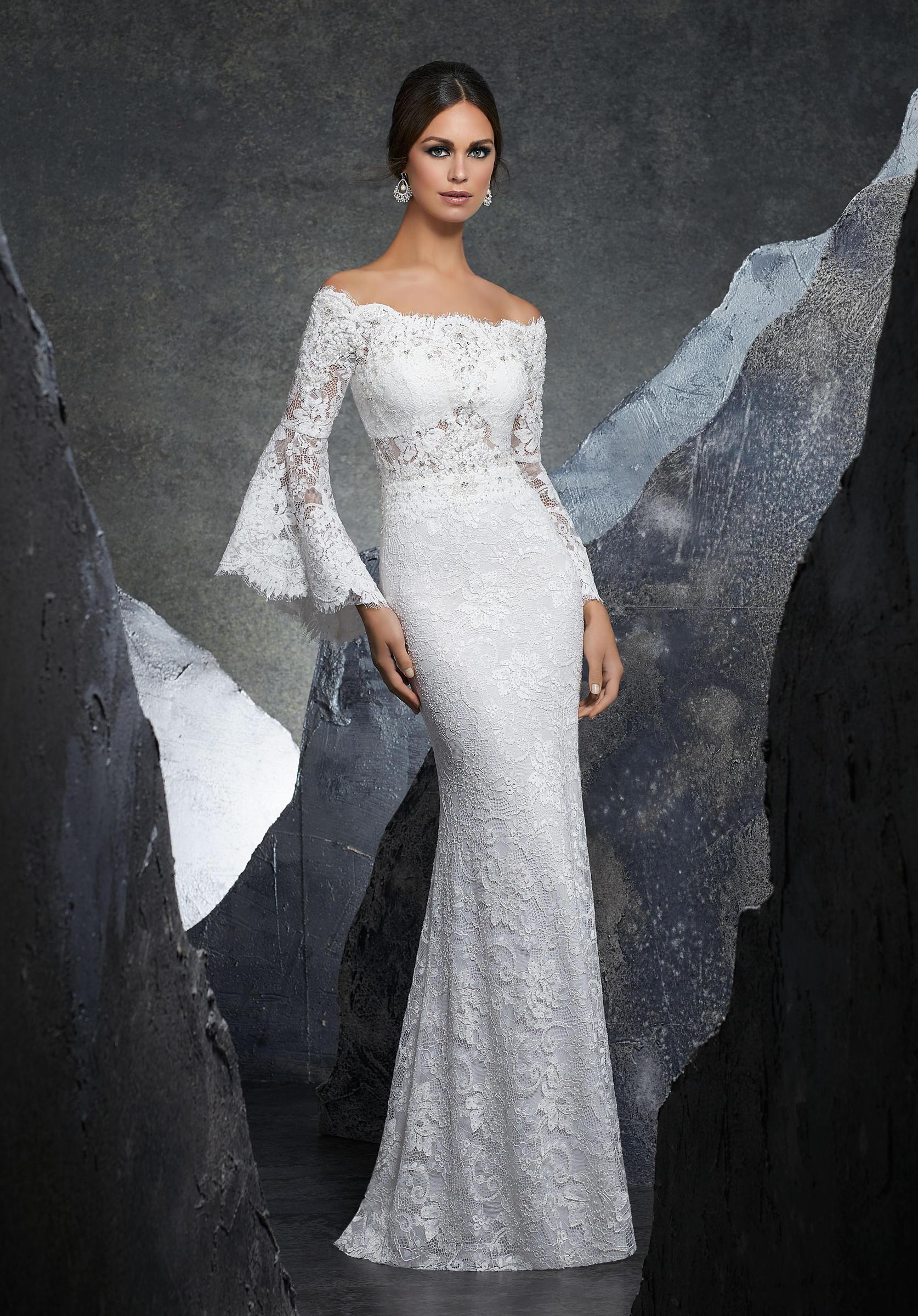 Νυφικό Φόρεμα, Γοργονέ από Δαντέλα Stretch.Κωδ. 5605