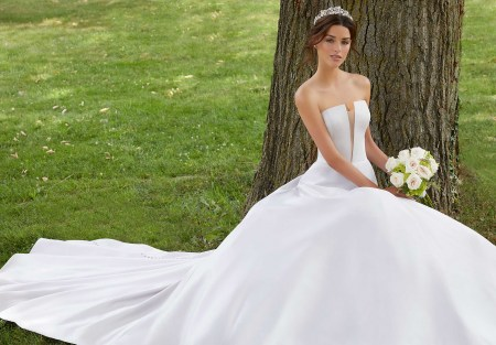 A-line Wedding Gown, by Morilee. With Net Neckline. Style, 5807-1.jpg_1
